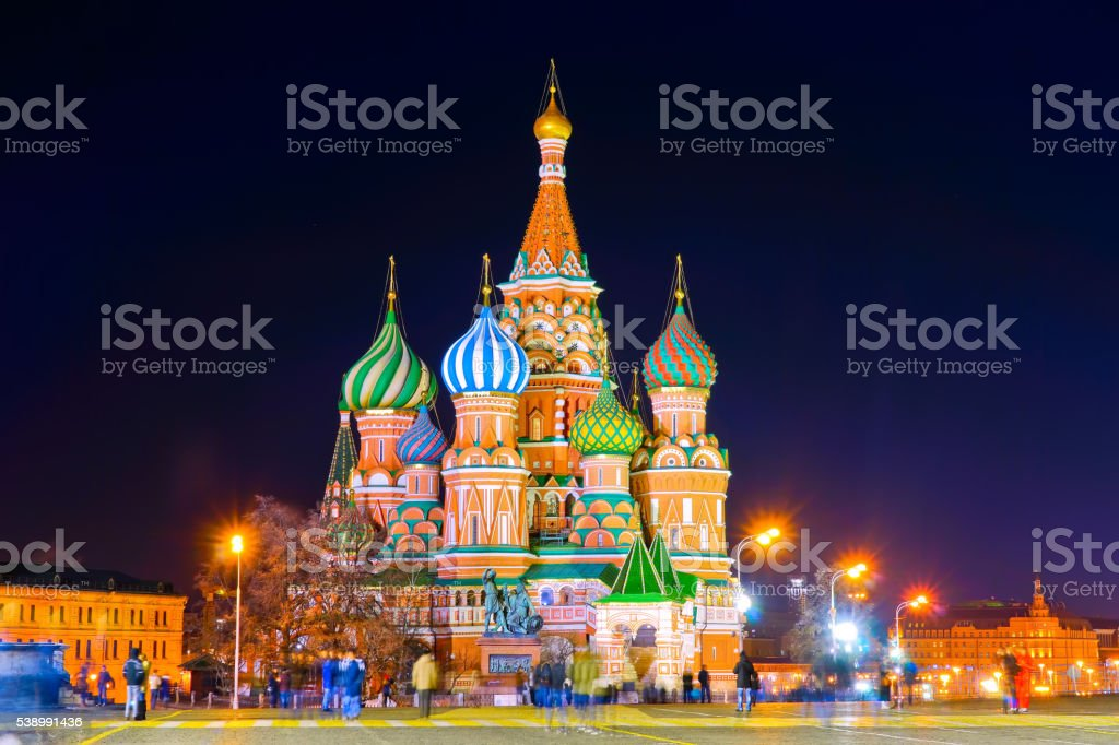 St. Basil's cathedral on the Red Square in Moscow stock photo