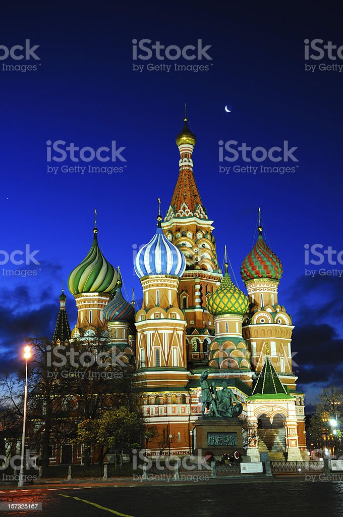 St. Basil's Cathedral under the moon stock photo