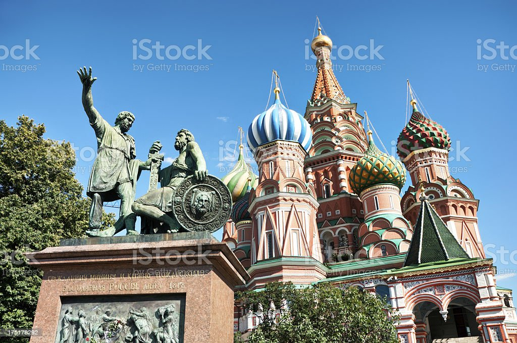 St Basils Cathedral with Minin and Pozharskiy monument royalty-free stock photo
