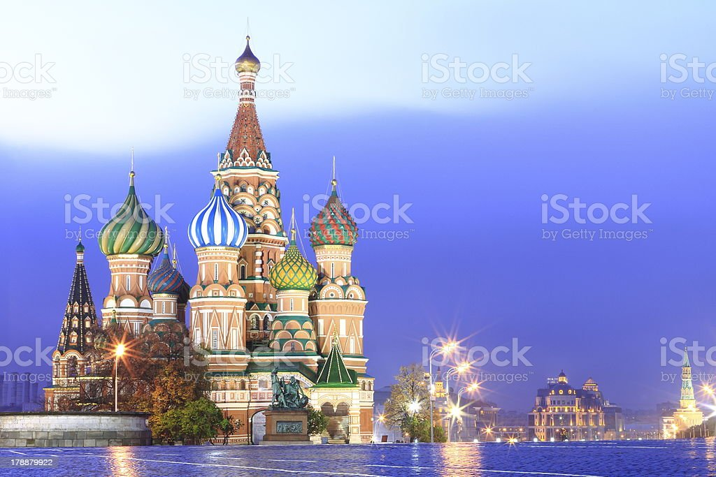 St Basil's in Red Square at evening, Moscow - Russia stock photo