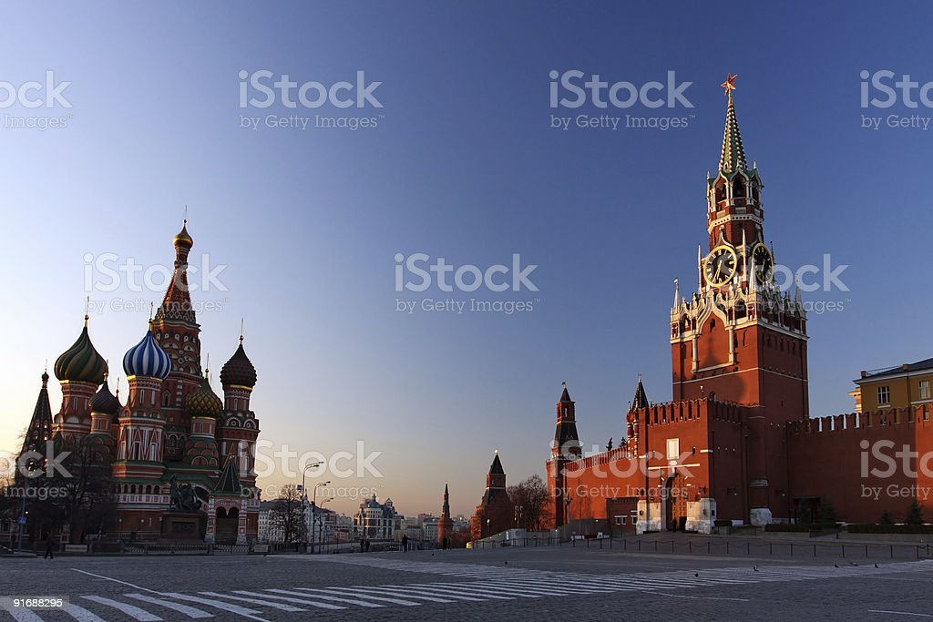 St. Basil's & The Kremlin stock photo