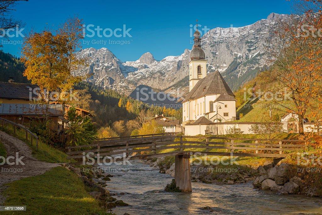 St. Bastian church in Ramsau - Bavaria stock photo