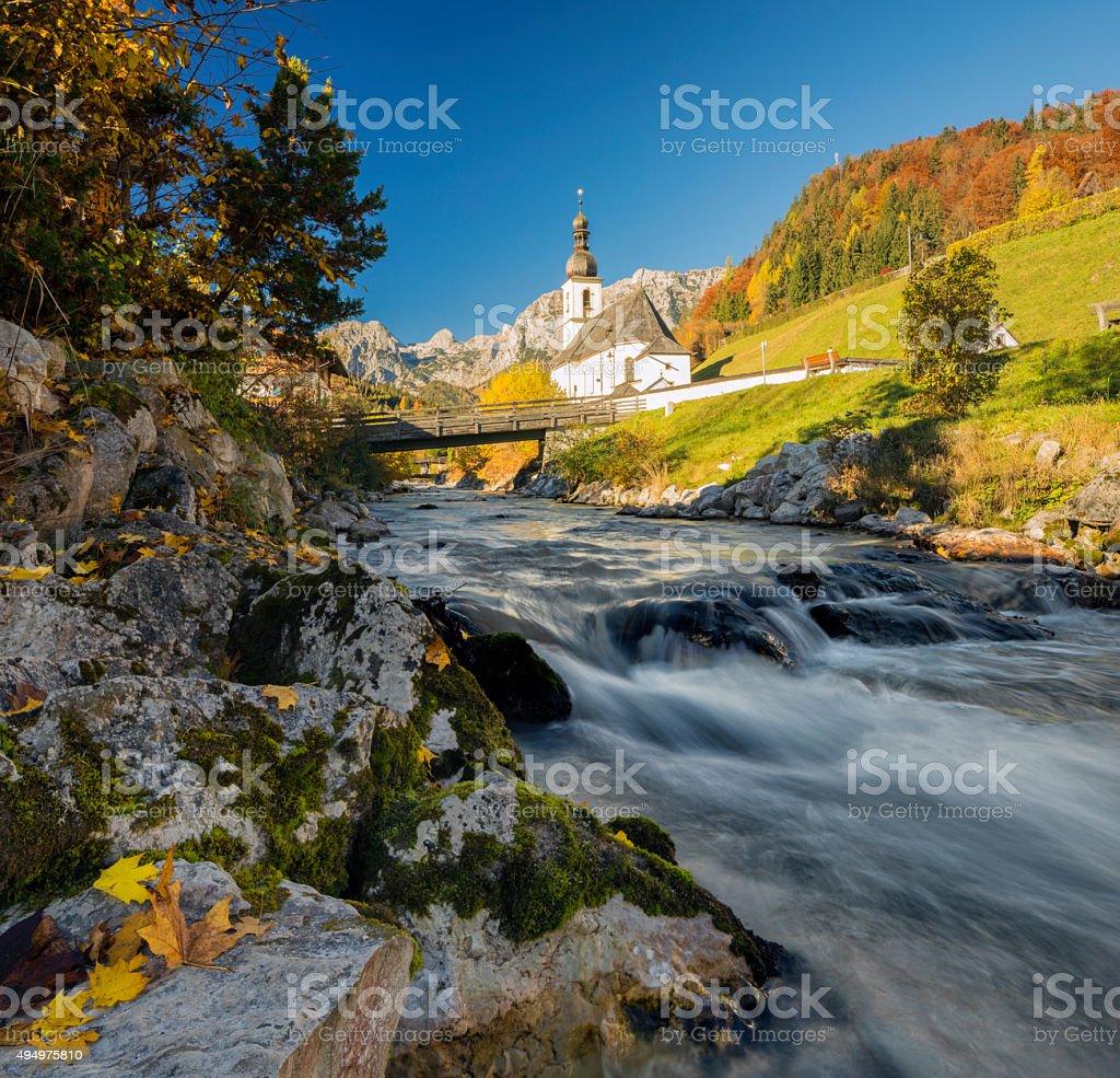 St. Bastian church in Ramsau stock photo
