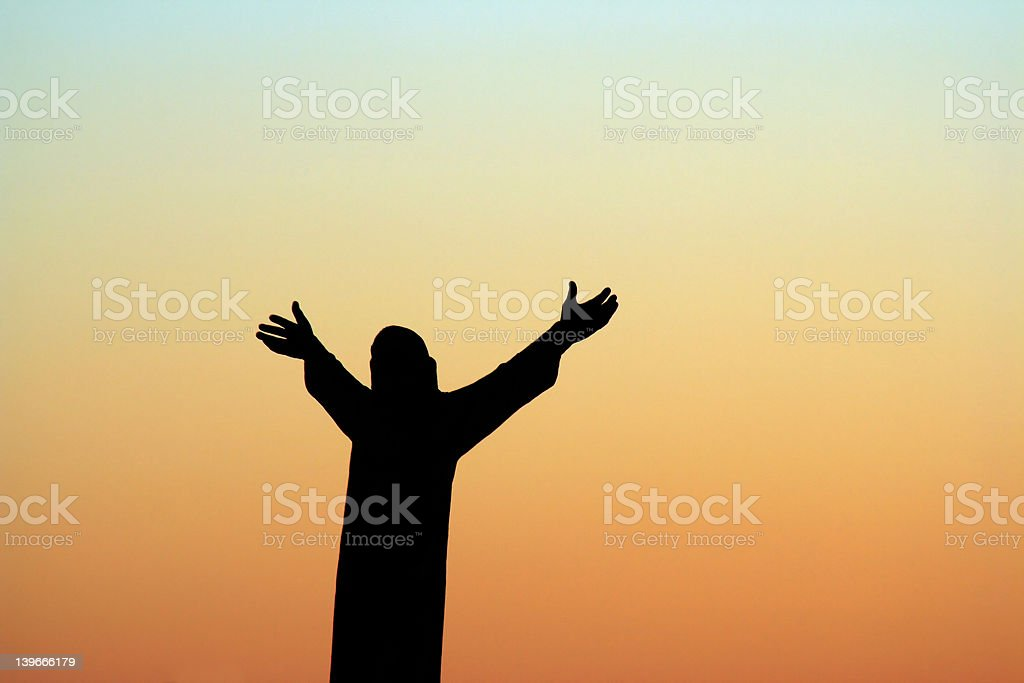 St. Benedict statue, dawn royalty-free stock photo