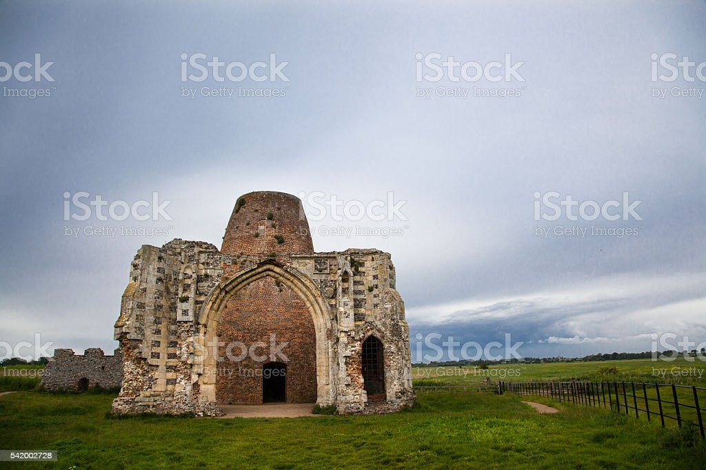 st benets abbey on river bure norfolk broads england stock photo