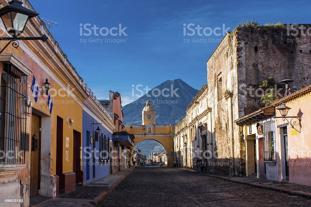 St Catarina arc and volcano Antigua Guatemala stock photo