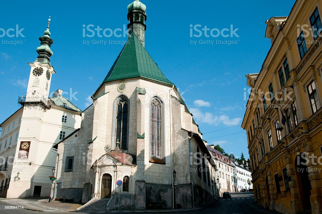 St Catherine Church - Banska Stiavnica - Slovakia stock photo