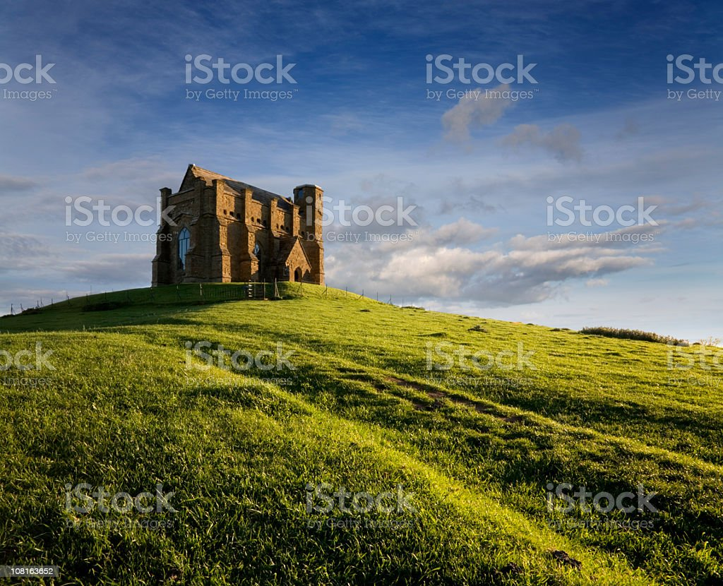 St Catherine's Chapel on Green Hill During Evening Sun stock photo
