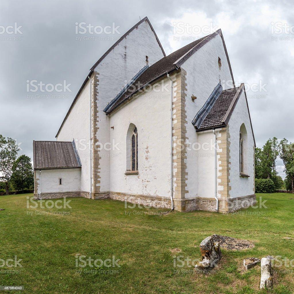 St. Catherine's Church, Muhu Island, Estonia. Steepleless lutheran church. stock photo