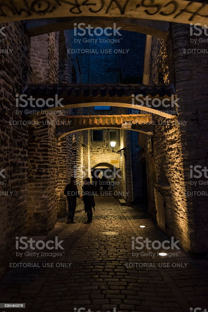 St. Catherine's Passage in Tallinn, Estonia stock photo
