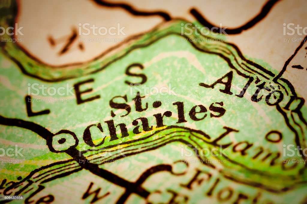 St. Charles, Missouri on an Antique map stock photo