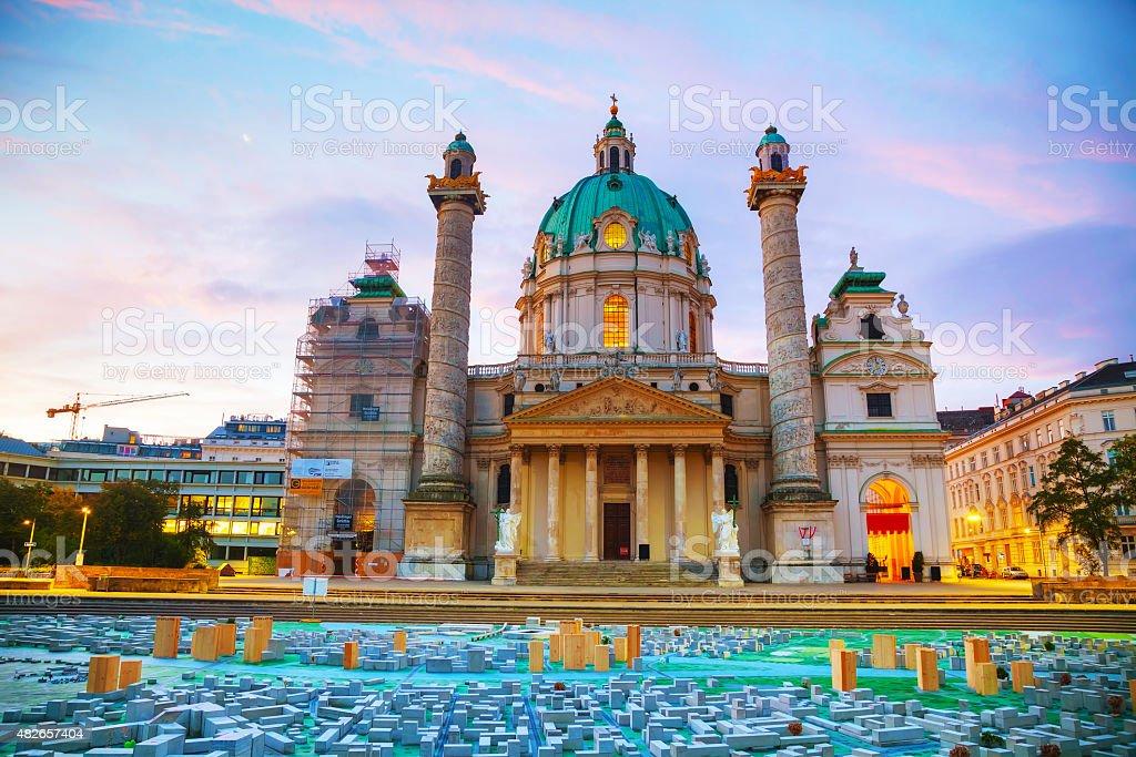 St. Charles's Church (Karlskirche) in Vienna, Austria stock photo