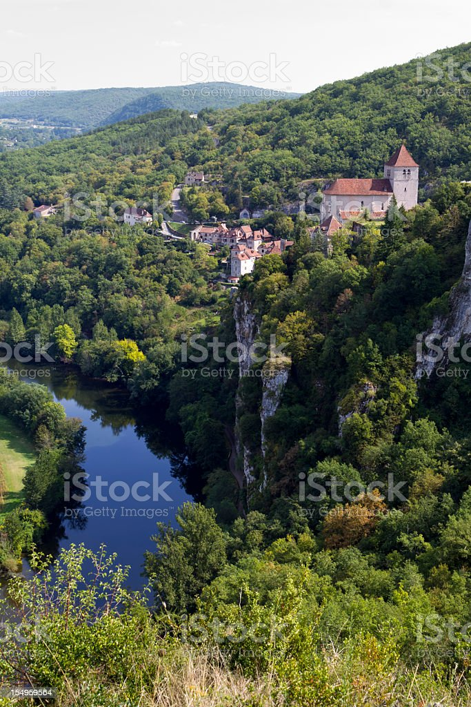 St Cirq Lapopie and the River Lot, Midi Pyrenees, France stock photo