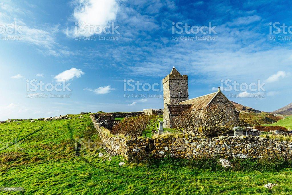 St Clement's Church, Harris, Scotland stock photo