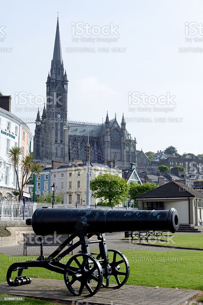 St Colman's Cathedral and canon stock photo