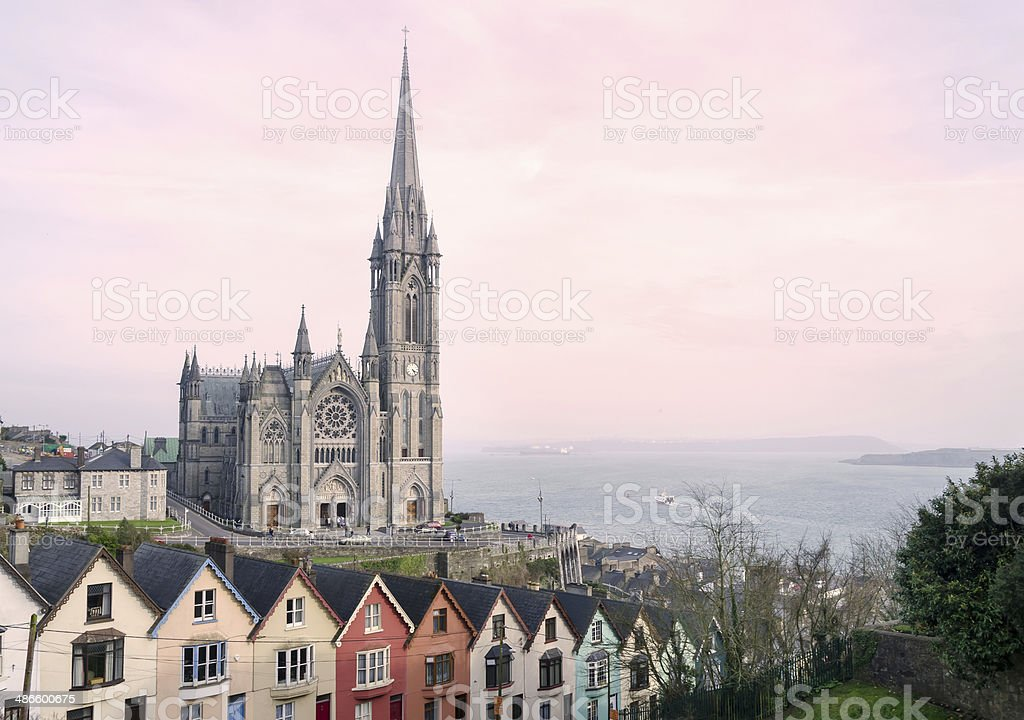 St. Colman's Cathedral, Cobh at Sunset stock photo
