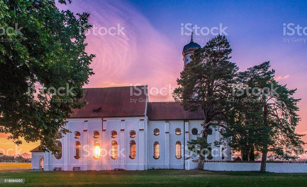 St. Coloman Church at sunset, Bavaria, Germany stock photo