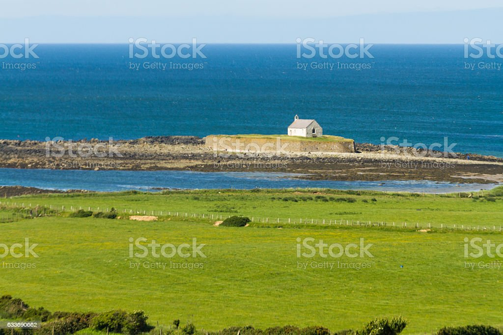 St Cwyfan€™s, The Church in the Sea. stock photo