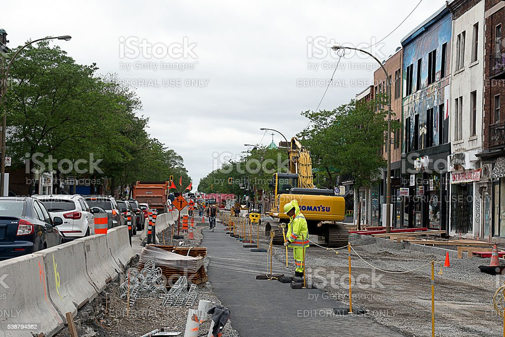 St- Denis street under construction in Montreal stock photo