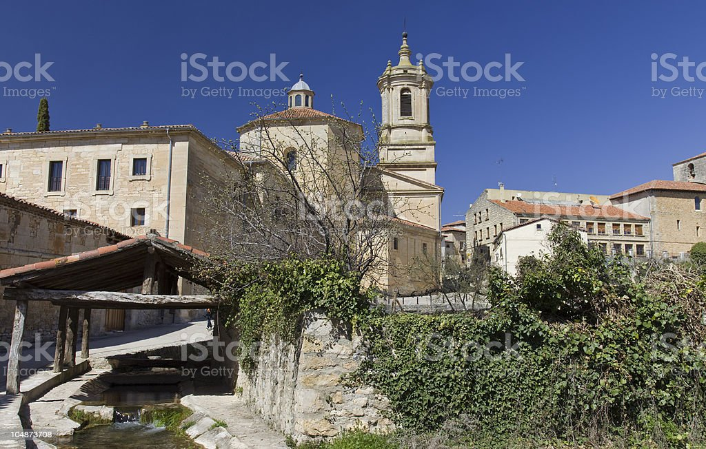 St. Domingo de Silos village and monastery (Burgos.Spain) stock photo