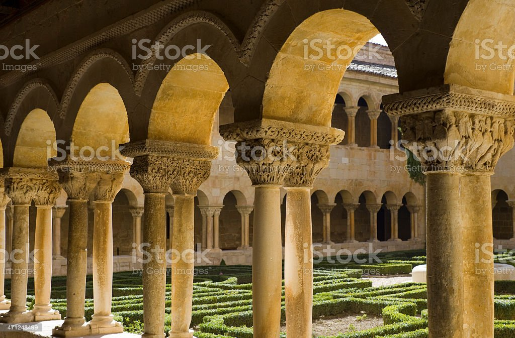 St. Domingo of Silos romanesque cloister stock photo