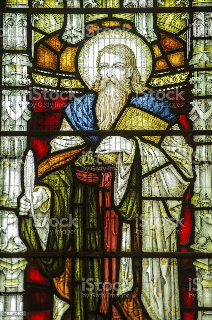 St Elisha Stained Glass Window stock photo
