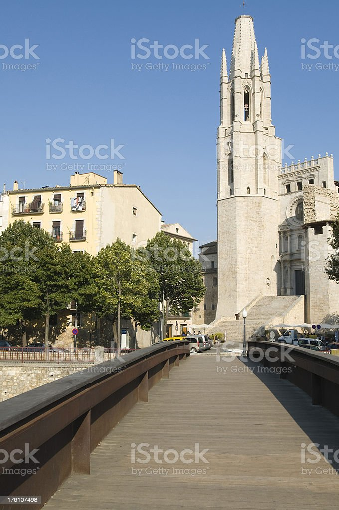 St Feliu Church, Girona stock photo