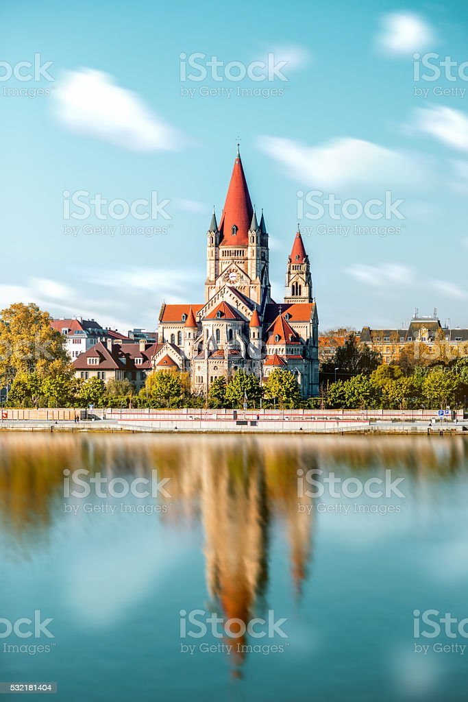 St. Francis of Assisi Church in Vienna stock photo