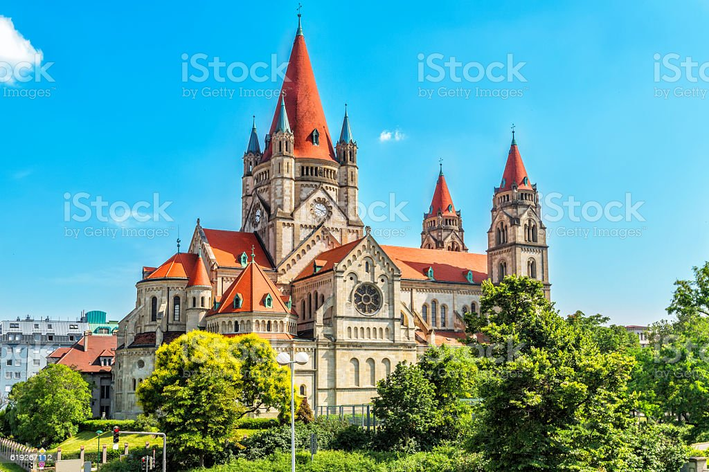 St. Francis of Assisi Church  in Vienna. stock photo