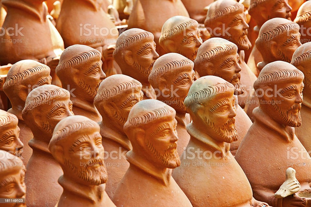 St. Francis Terracotta Figures royalty-free stock photo