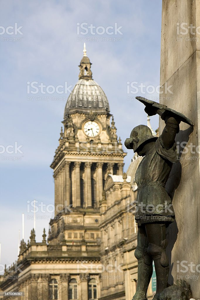 St George and Town Hall clock , Leeds stock photo