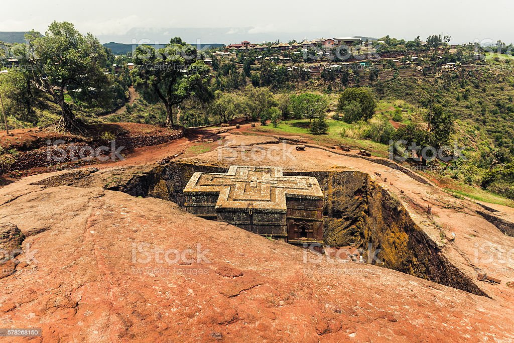 St. George Church in Lalibela Ethiopia stock photo