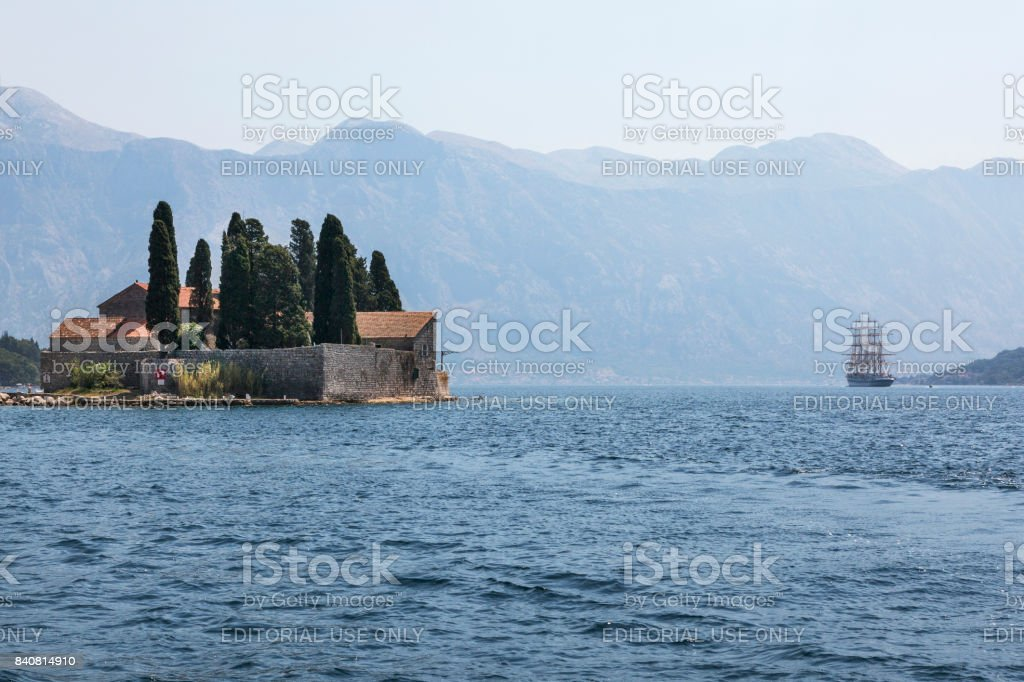 St. George Island in the Bay of Kotor. stock photo