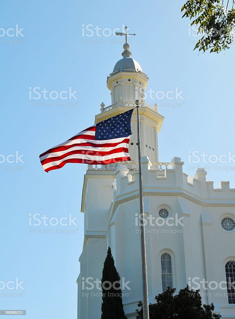 St. George Temple with US flag stock photo