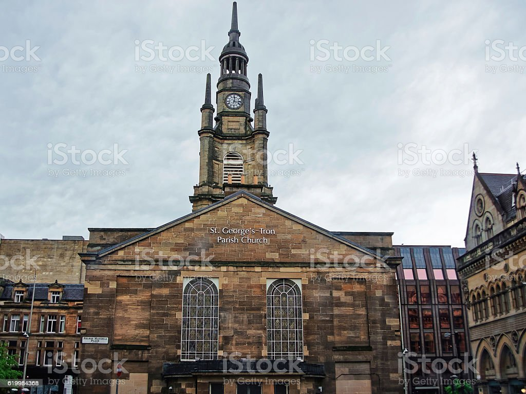 St George Tron Church in the Old City of Glasgow stock photo