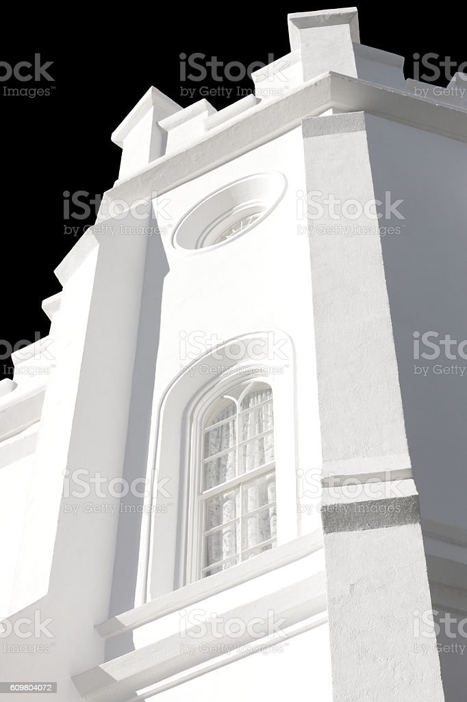 St. George Utah Temple Facade High Key stock photo