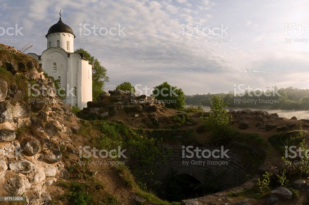 St. George's Church in the Ladoga Fortress. stock photo