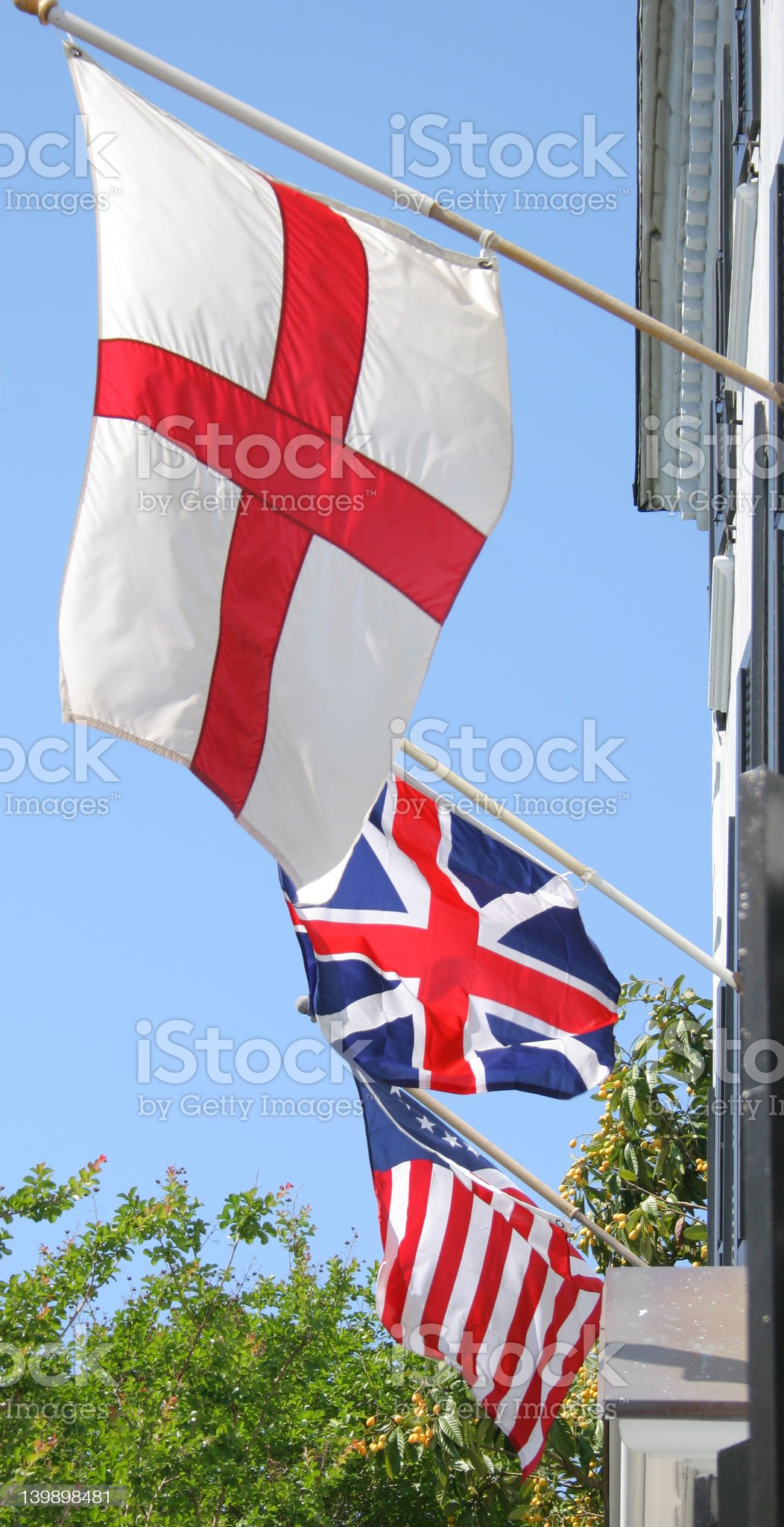 St George's Cross, British and American Flags royalty-free stock photo