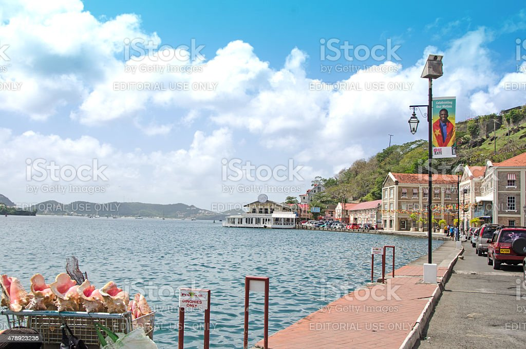 St. George's Grenada waterfront with vendor's shell stand stock photo