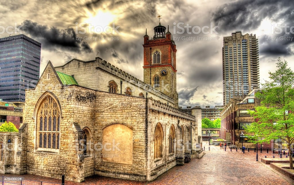 St Giles-without-Cripplegate church in London - England stock photo