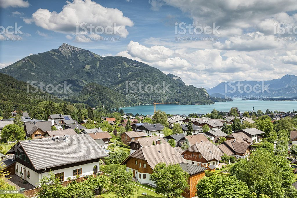 St Gilgen village at Wolfgangsee in Austria stock photo