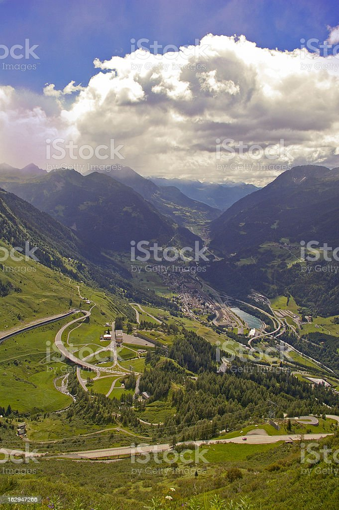 St Gotthard pass towards from Switzerland to Italy royalty-free stock photo