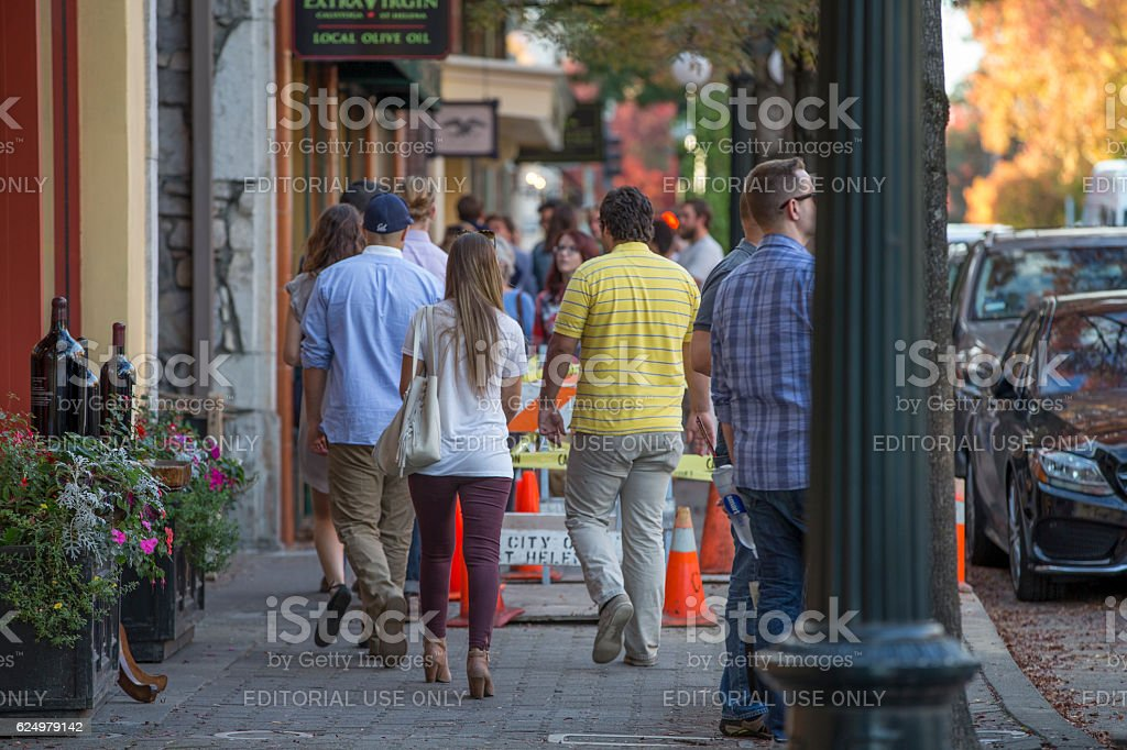 St. Helena Downtown in Napa Valley at Autumn, California stock photo