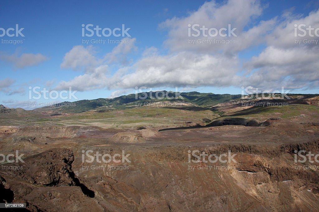 St Helena Island across Prosperous Bay Plain to Central Peaks stock photo