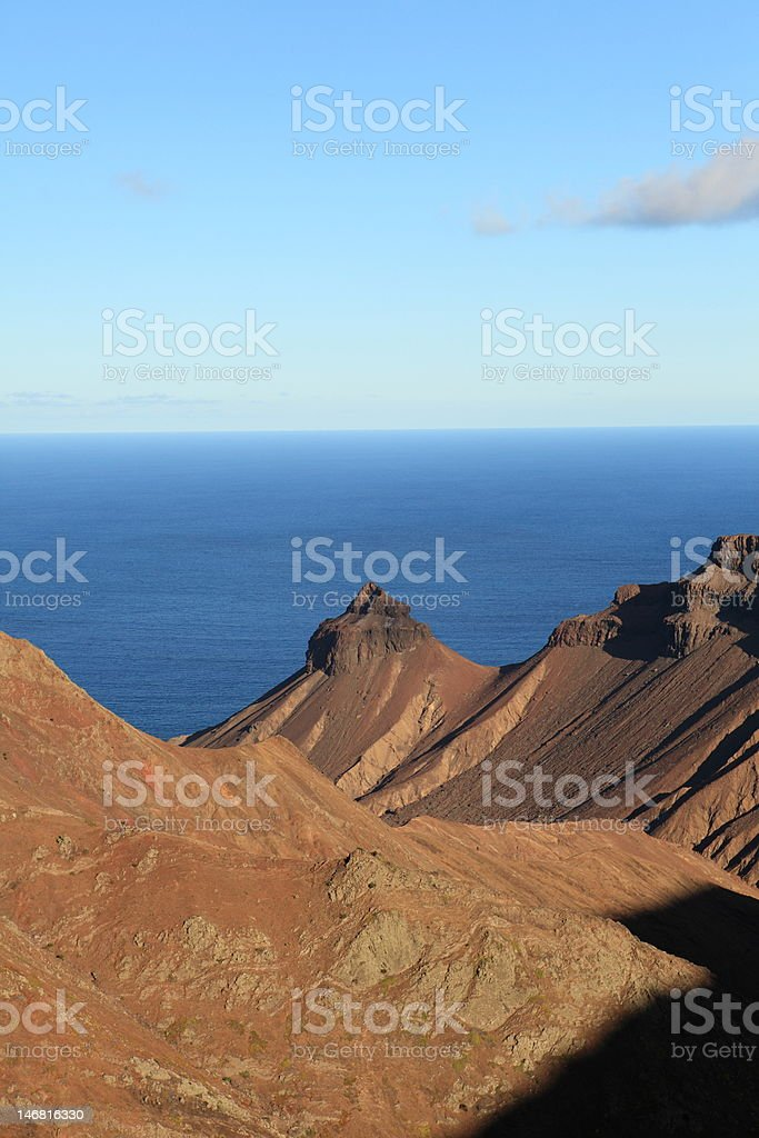 St Helena Island volcanic landscape in late afternoon light stock photo