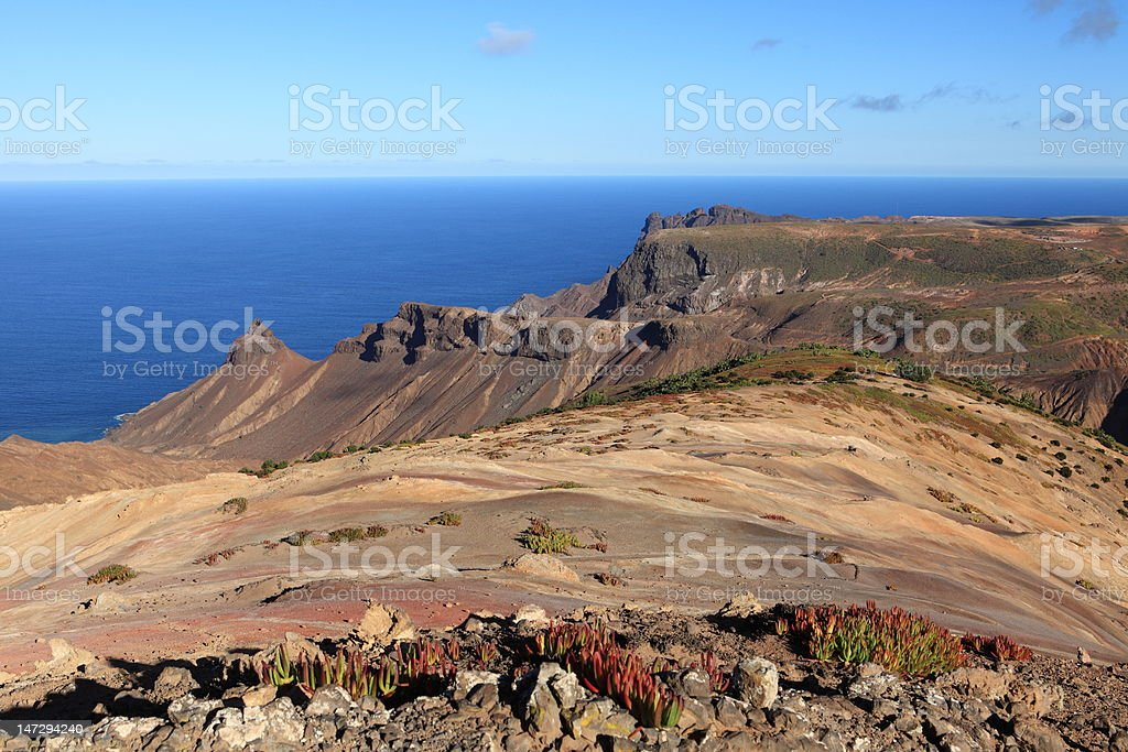 St Helena Island volcanic terrain in late afternoon light stock photo