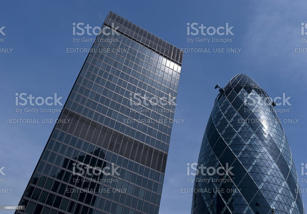 St Helen's building and 'The Gherkin' skyscrapers in central Lon stock photo