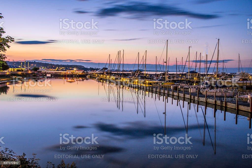 St. Ignace Waterfront And Marina stock photo