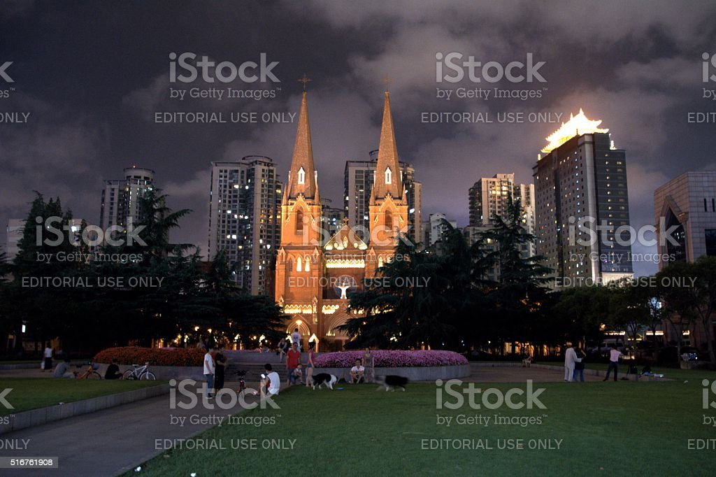St. Ignatius Cathedral by night, Xujiahui district in Shanghai stock photo