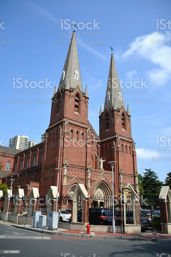 St. Ignatius Cathedral, Xujiahui district in Shanghai stock photo